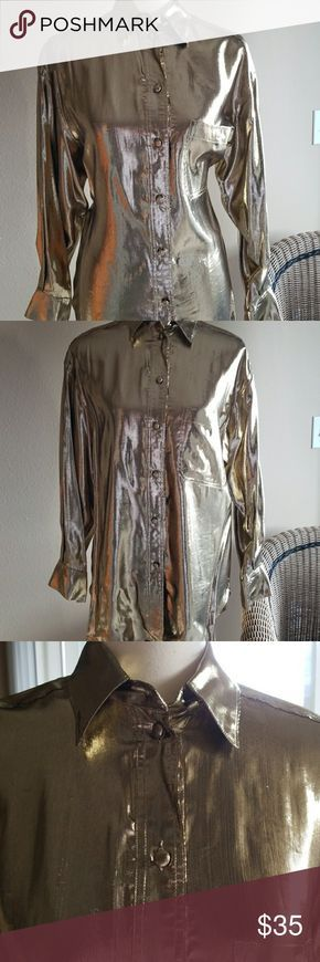 GOLD LAME LONG SHIRT You know you want to go glam this holiday Lillie Rubin Tops Blouses