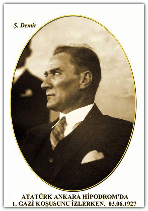 ATATÜRK ANKARA HİPODROM'DA 1. GAZİ KOŞUSUNU İZLERKEN. 03.06.1927