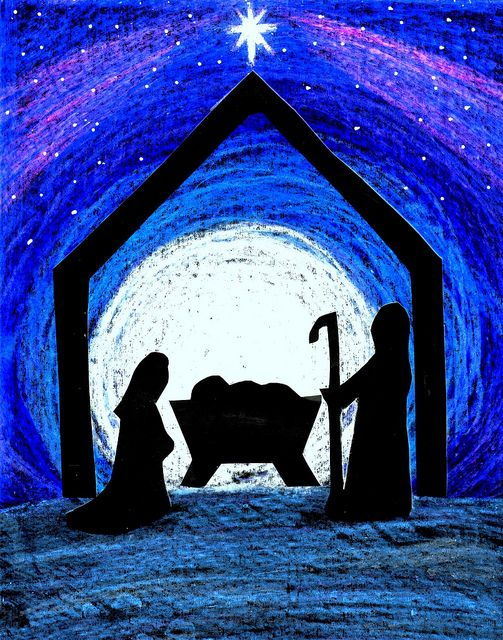 Another Nativity picture - this time with crayon on black paper, with black paper cutouts for the holy family's silhouette