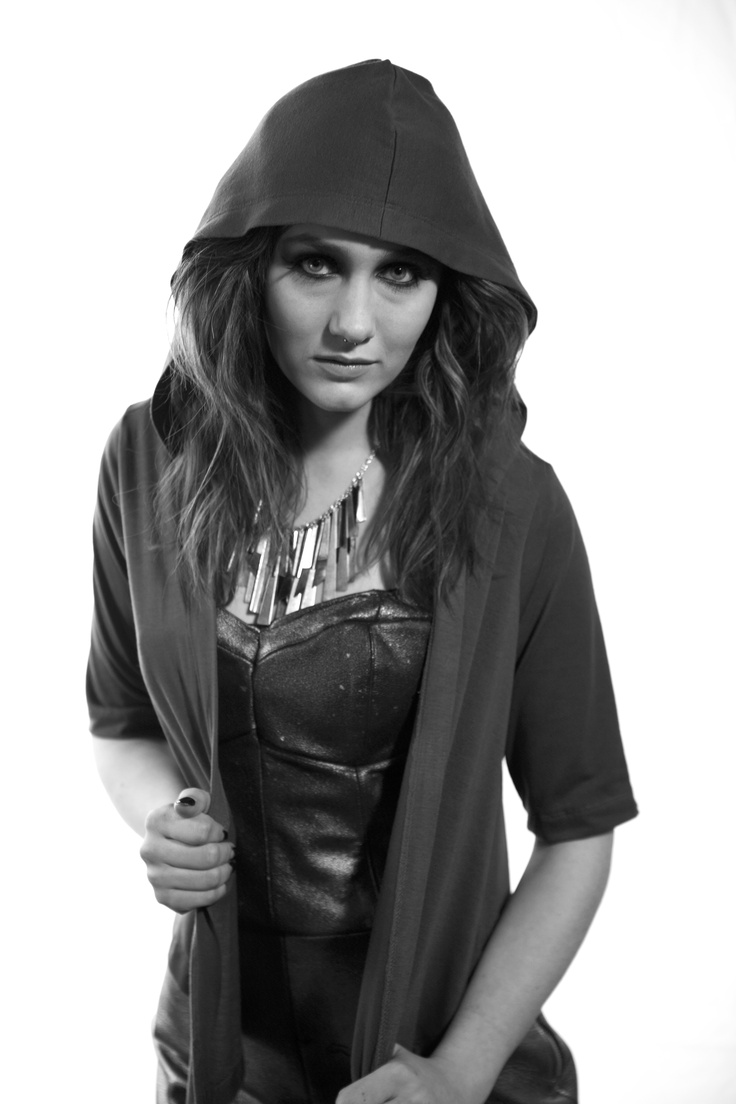 Kirbi Bethune | Hooded cardigan and metallic leather romper