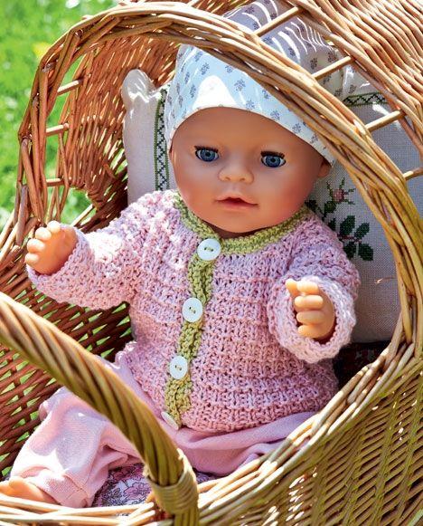 Sød strikket trøje med lysegrøn kant til Baby Born dukke - Hjemmet DK