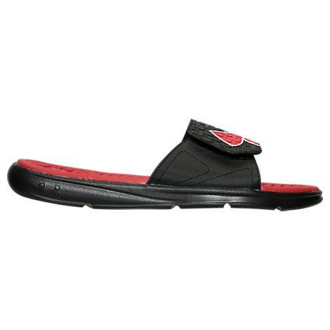 UNDER ARMOUR UNDER ARMOUR MEN'S MICRO G SLIDE SANDALS, BLACK/RED. #underarmour #shoes #