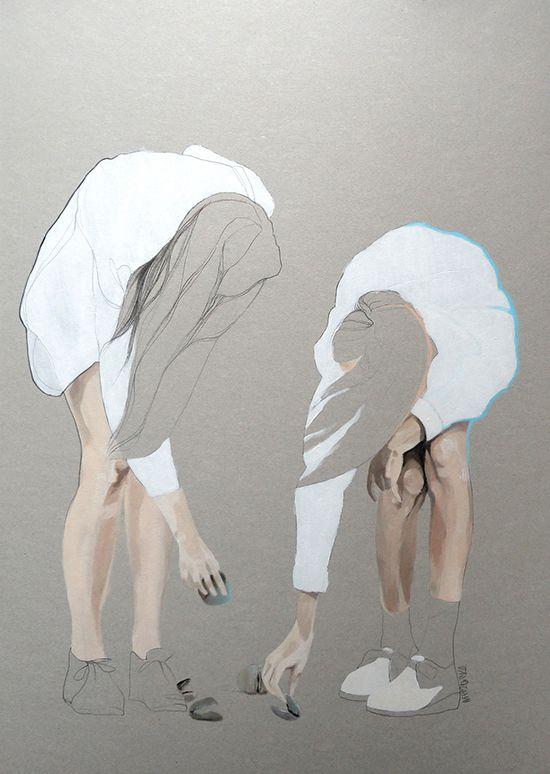 Beach 50x70x0,3 cm. Acrylic on paper. - Agata Wierzbicka / Painting / Art Inspiration