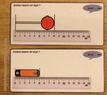 Cartes effaçables pour mesurer en cm ou en cm et mm - règle posée ou non