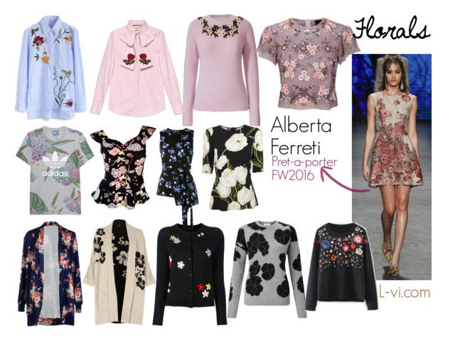 """""""[FW2016] Florals"""" by lucebuona on Polyvore featuring Orla Kiely, River Island, Gucci, adidas Originals, John Lewis, Moschino, Dolce&Gabbana, Chicwish, Needle & Thread and Simone Rocha"""