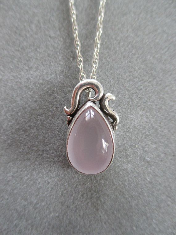 Sterling Silver Rose Quartz Pendant by RichelleJewelry on Etsy