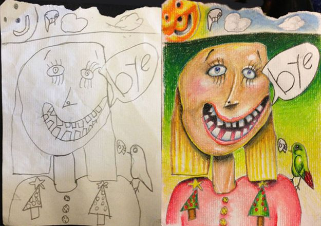 Estos niños dejaron que su papá coloreara sus dibujos. Este fue el resultado