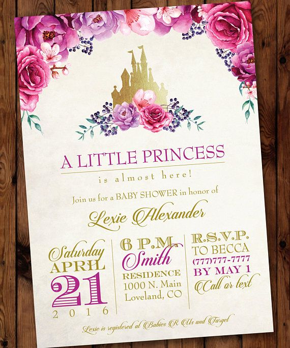 Little Princess Baby Shower Invitation, Princess Baby Shower Invitation, Castle Baby Shower Invitation, Purple Floral Baby Shower Invitation