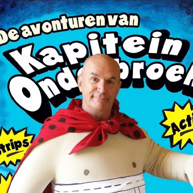 Voor De Fontein-Tirion uitgevers leveren wij de acteur en het kostuum voor Kapitein Onderbroek. Op zaterdag 30 juni komt Kapitein Onderbroek naar Uithoorn voor een signeer en voorlees sessie bij Boekhandel TenHoope. Sessie's van 12.00-16.00 uur toegang gratis. Adres: Zijdelrij 8, 1422DN, Uithoorn.