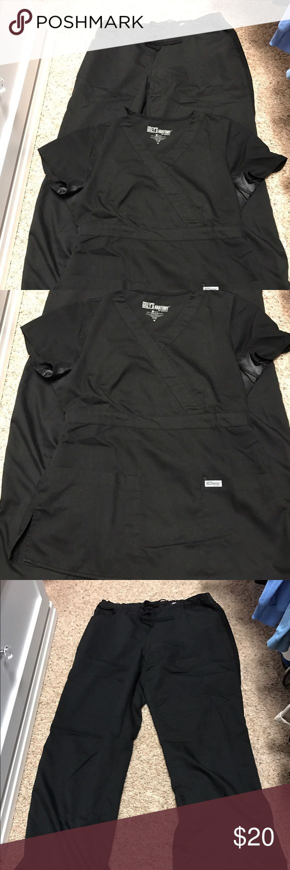 Grey's Anatomy scrub set M top, Large Tall pants Grey's Anatomy scrub set Medium top, Large Tall pants in black. Discoloration under the arms, could likely be removed with treatment. Good condition otherwise! grey's anatomy Other