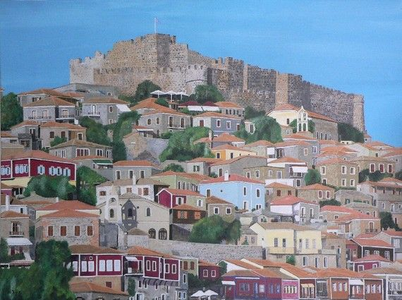 Molyvos Lesvos Greece  Eric Kempson by ellenisworkshop on Etsy