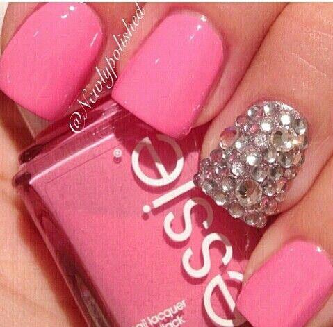 rosa con piedras uas de acrilico acrigel gelishs pinterest