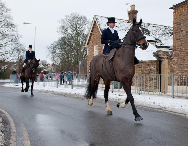 Amanda Soar at the Boxing Day meet of the Cottesmore Hunt. -- Oooo side saddle.