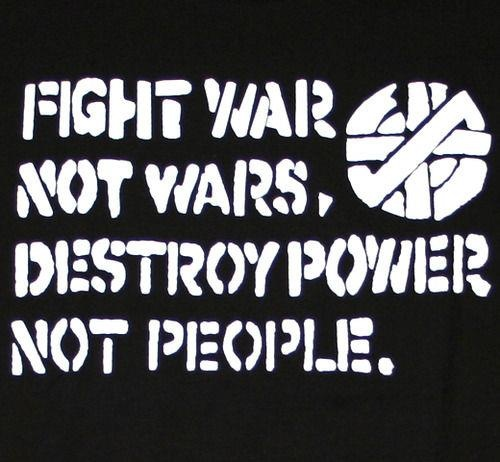"""Fight war not wars destroy power not people. We are a """"Christian"""" country, with a """"Christian"""" president yet we kill innocent people.....I thought one of the commandments was not to kill....not so """"Christian"""" to me. Be real. Be lovers, not haters. Stand up! Speak up!"""