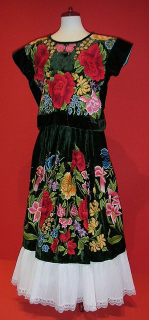 A traditional outfit made famous by Frida Kahlo, from Tehuantepec, Oaxaca