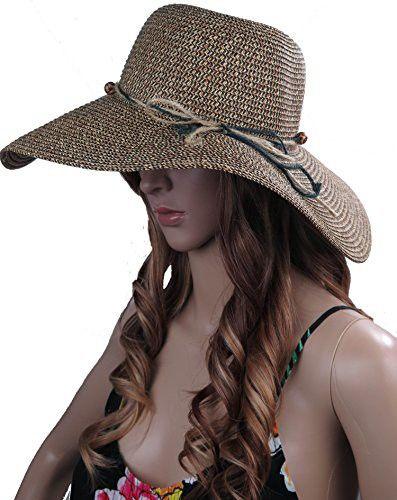 4f62f4a45b1edd DEBRA WEITZNER Womens Straw Floppy Hat Packable Beach Sun Hat Strings Trim