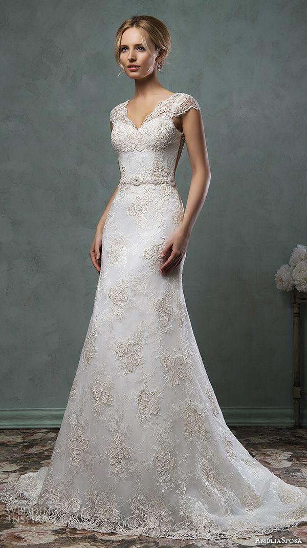 amelia sposa 2016 wedding dresses v neckline lace cap sleeves lace embroidery beautiful a line wedding dress donata