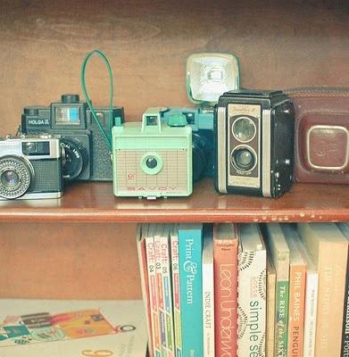a collection of vintage cameras