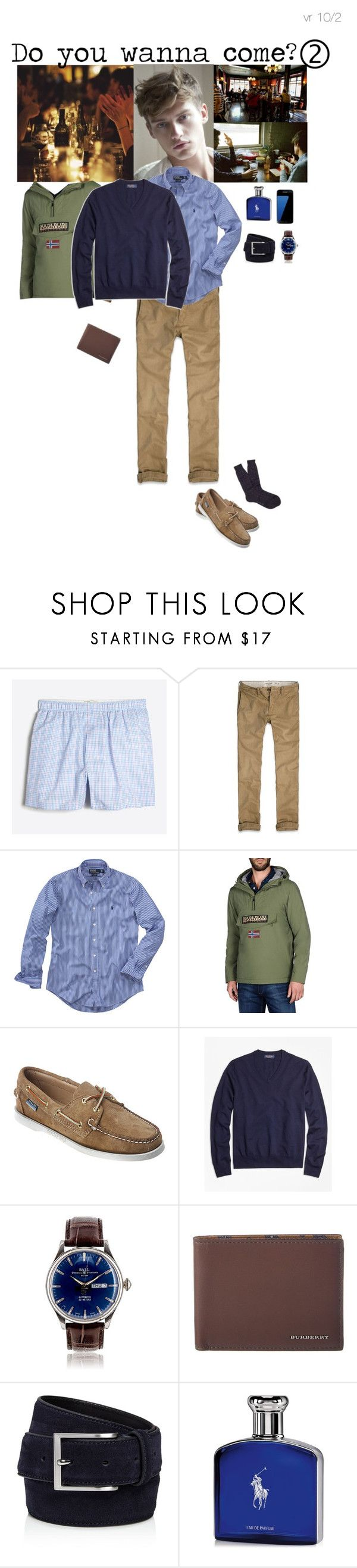 """""""Do you wanna come?"""" by adelaidesmitha ❤ liked on Polyvore featuring J.Crew, Abercrombie & Fitch, Polo Ralph Lauren, Napapijri, Sebago, Brooks Brothers, Burberry, To Boot New York, Samsung and Ralph Lauren"""