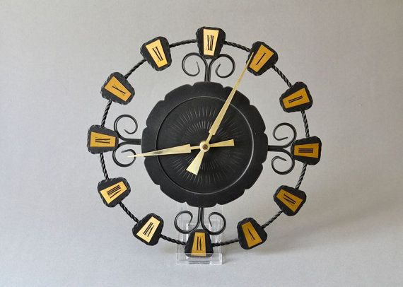 Vintage German wall clock black brass kitchen office starburst sunburst Mid-Century 60s