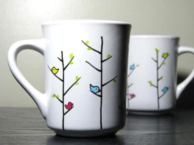 Pintadas aves coloridas tazas Set de 2