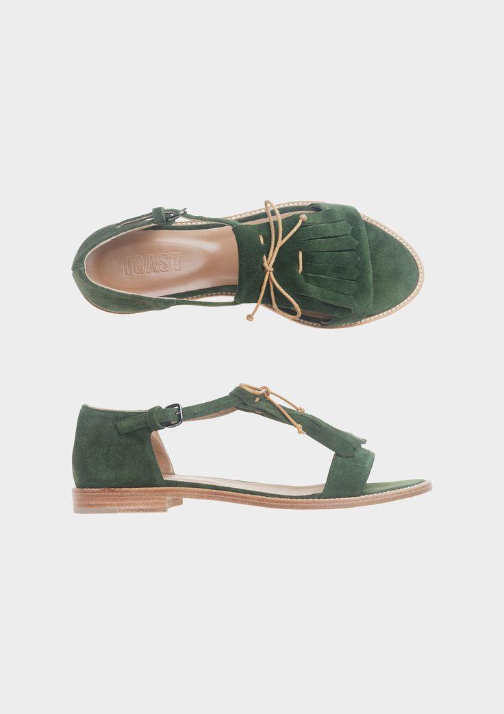Toast - Green Suede Fringe Sandal
