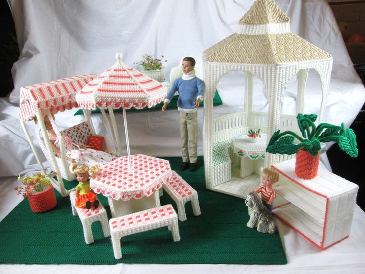 Plastic Canvas Barbie Doll Gazebo Outdoor Swing Furniture Set Com