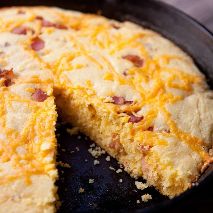 Bacon Cheddar Skillet Cornbread Recipe Breads with thick-cut bacon, cornmeal, all-purpose flour, sugar, baking powder, salt, unsalted butter, buttermilk, large eggs, sharp cheddar cheese