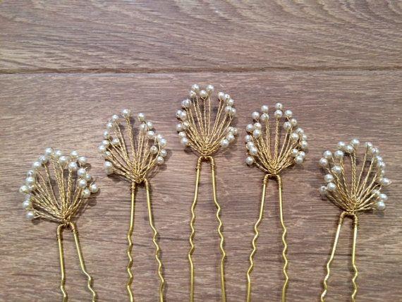 Baby's Breath Hair Pins Bridal Bridesmaids by AvaGraceBridal