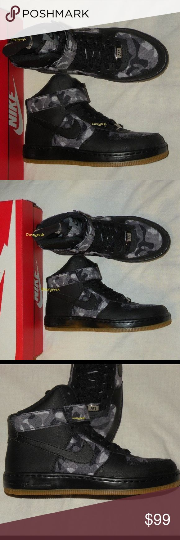 Nike AF1 Ultra Force Mid Prt Air Force One Black Women's Nike Air Force One Ultra Force Mid Prt Sneakers. These awesome Black with black gray camouflage sections our new never worn with box. Selling not trading. Women's size 7 Bundle with thigh high socks or over the knee socks for extra savings. Nike Shoes Athletic Shoes