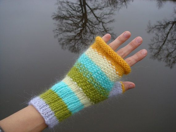 Green spring gloves fingerless mittenswomen by RainbowMittens, $35.00