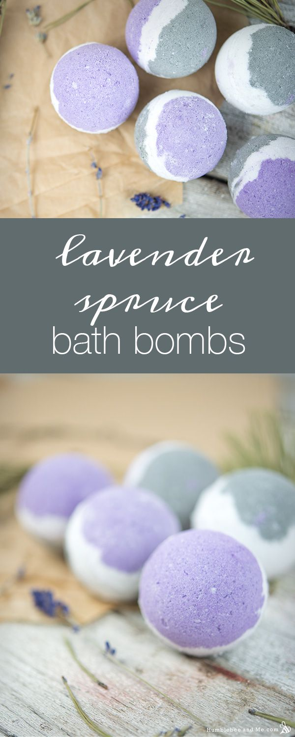 Lavender Spruce Bath Bombs. Easy to follow tutorial to make your own bath bombs.