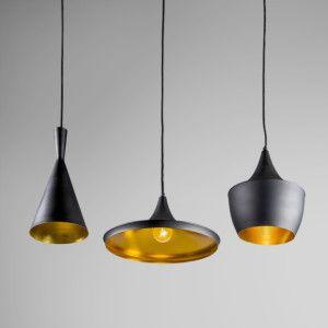 Hanglamp Depeche 3 zwart met goud - Lampenlicht.be