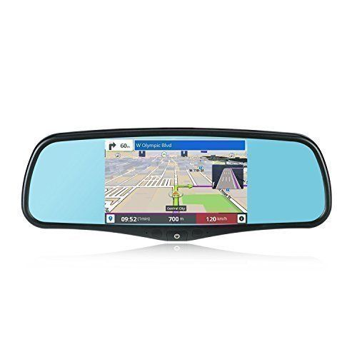 SmarTure 5 Smart Android Rear View Mirror Quad Core with GPS NavigationDash CameraWIFIBack Up CameraBluetooth1GB RAM 8GB ROMBracket 1 3 7 for HondaToyotaFordVWMazda and More -- Want to know more, click on the image.