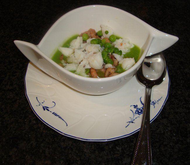 King krab en garnalen met erwtensoepje, Recepten - Voorgerechten & hapjes, Gette.org