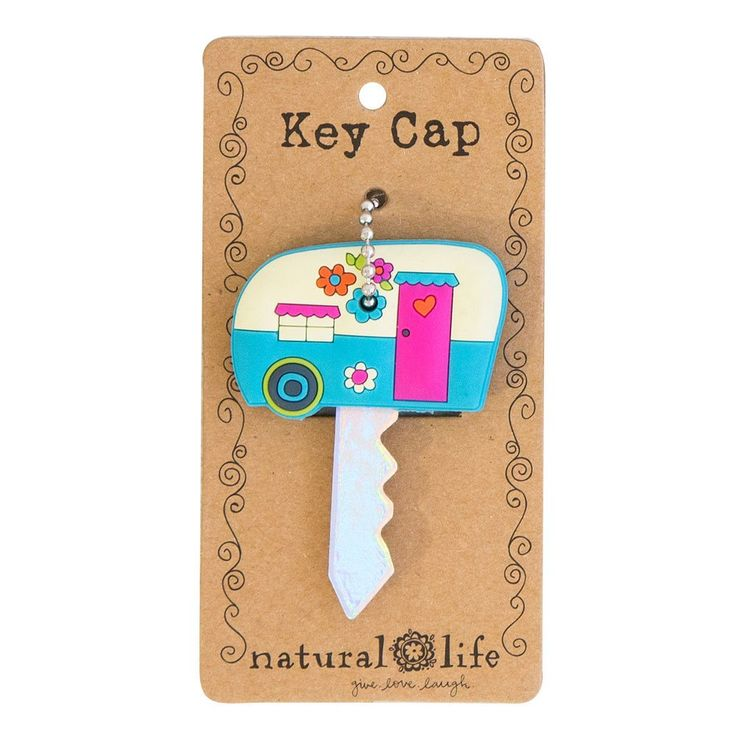 I love this darling Key cap/cover. You'll never forget which key it is! Includes the ball chain and clasp to attach to anything. Key Caps Camper Enjoy the Ride 100% rubber. 1.5 in L x 1.5 in W .