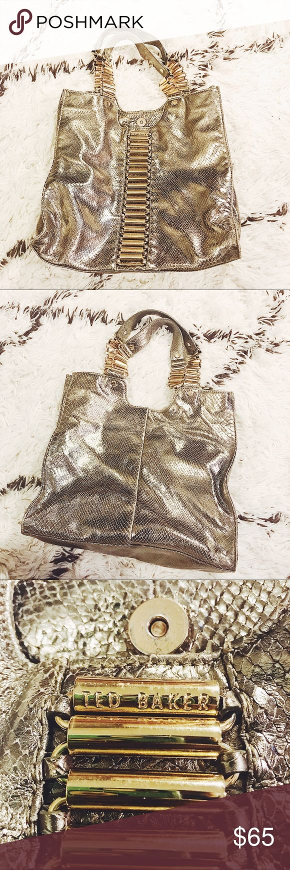 Ted Baker | Limited Edition Snakeskin Purse, Gold Gorgeous Limited Edition Ted Baker purse. Gold snakeskin pattern and texture. Gold hardware. Magnetic closure. Interior zip pocket. Some wear on bottom/sides (see photos) Smoke free, pet free home! Ted Baker Bags