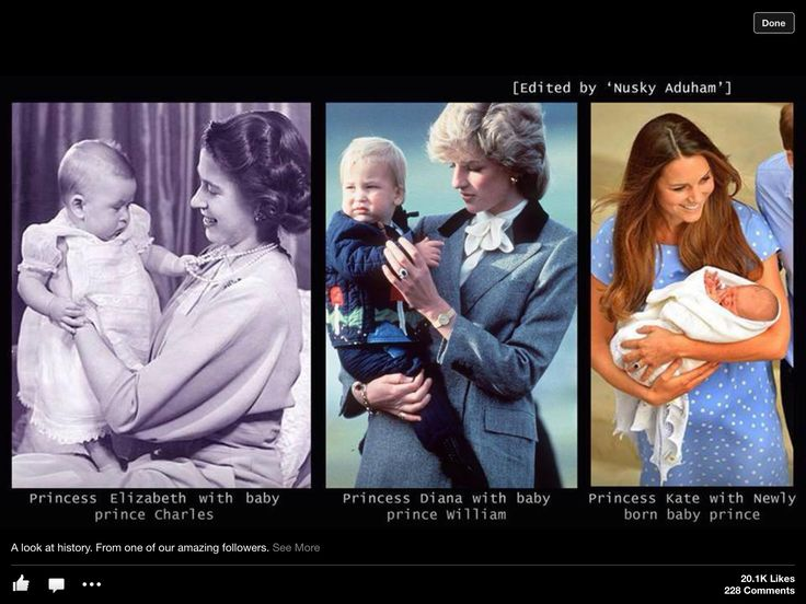 Princess Elizabeth with baby, Charles: Diana Princess of Wales with baby Prince William: Catherine, Duchess of Cambridge with baby Prince George.