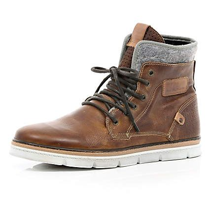 Brown contrast panel chunky sole boots - boots - shoes / boots - men | Raddest Men's Fashion Looks On The Internet: http://www.raddestlooks.org