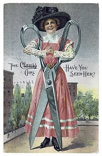 Vintage sewing ad with giant scissors
