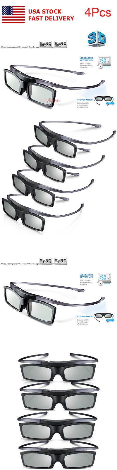 3D TV Glasses and Accessories: Us 4Pcs 3D 4K Hd Uhd Suhd Bt Active Tv Glasses For Samsung Sony Tv Projector -> BUY IT NOW ONLY: $54.99 on eBay!
