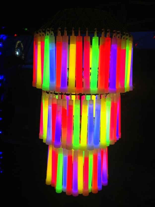 Add a glow stick chandelier for your grown-up rave party. | How To Throw The Most Epic Dance Party Ever