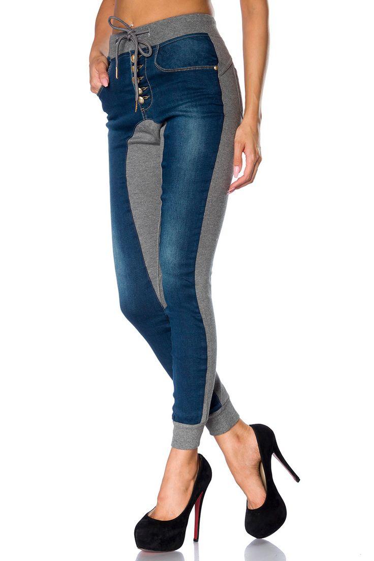 Jogginghose mit Jeans-Einsatz | Jeans | Hosen & Pants & Leggings | BEKLEIDUNG | FRAUEN | 701 FASHION