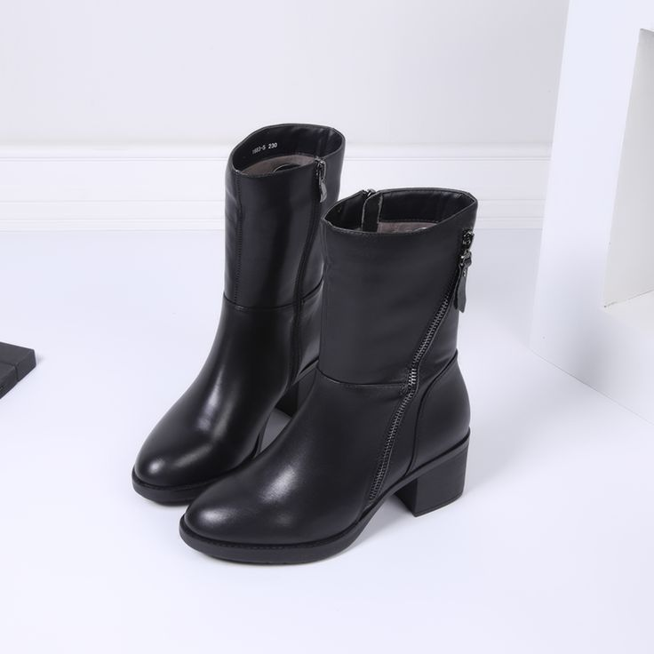 Свободная перевозка груза!  Южной Кореи специальный один маленький г многообещающий первый слой кожи сапоги кашемир теплый тонкий комфортный на высоких каблуках - Taobao
