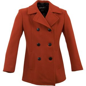 Schott: Red - Womens Lightweight Fitted Pea Coat - Army Navy Store