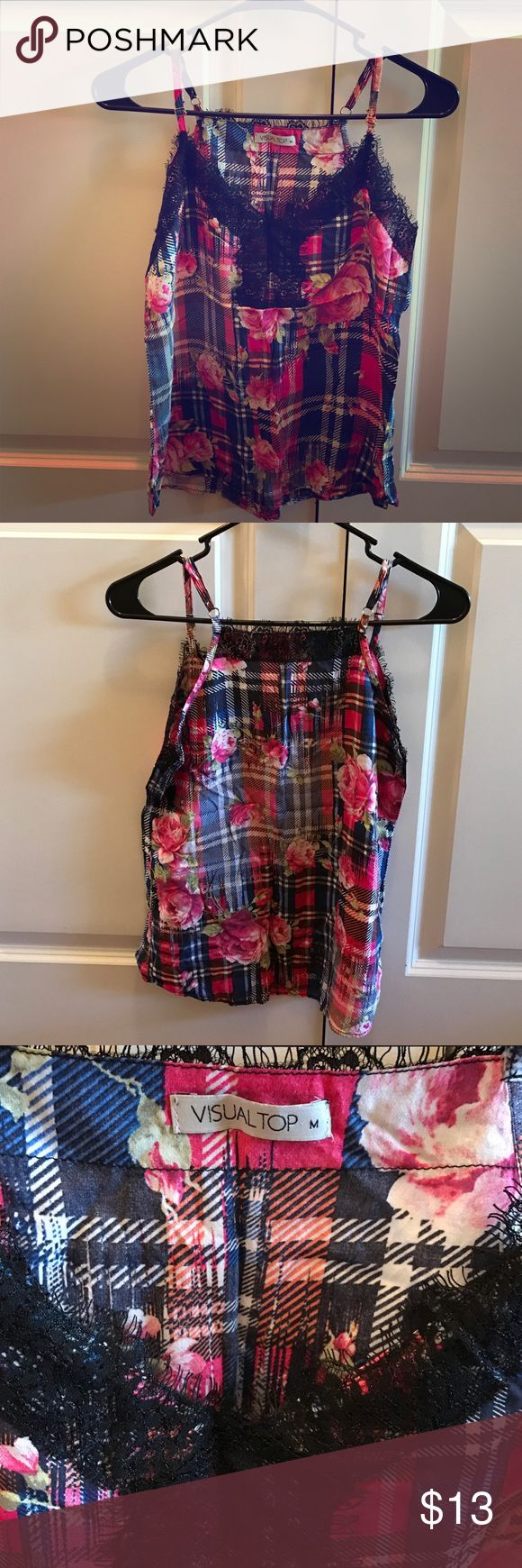 VISUAL TOP (international brand) flower top Wore it once for New Years in Brazil. This top is super versatile. Looks cute with jeans, shorts, or skirts! 🌺 Tops Tank Tops