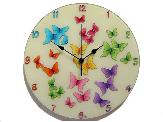 Butterfly Wall Clock, Large, Silent wall clock, Colorful,  Hand-painted Glass Unique wall clock