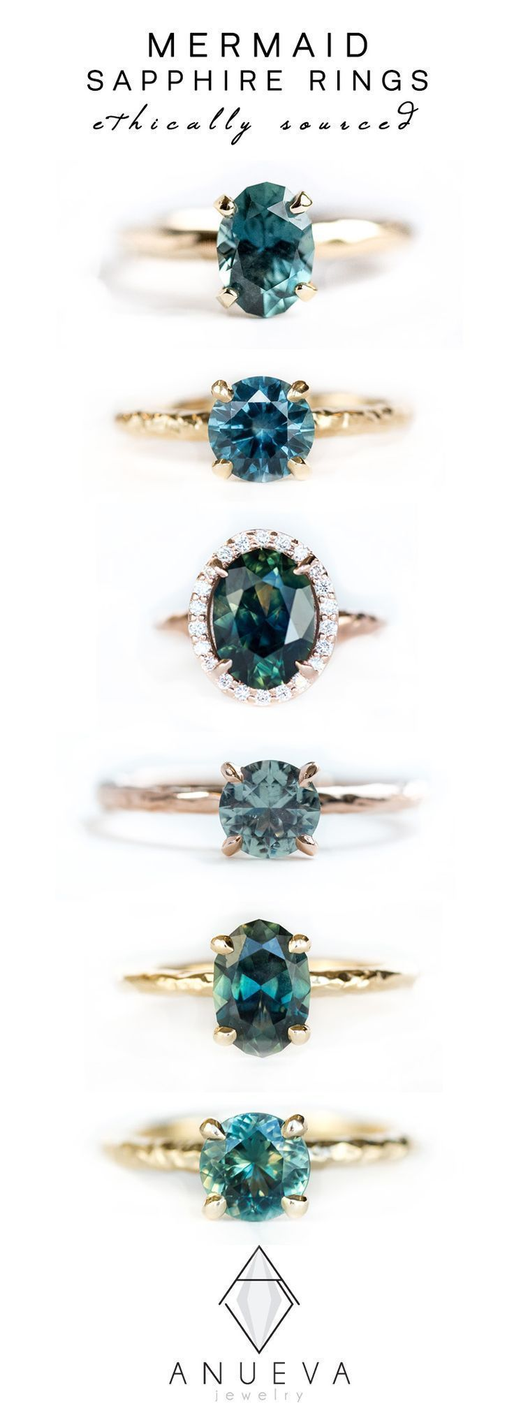 Blue Teal Mermaid Sapphire Rings in Yellow & Rose Gold by Anueva Jewelry #sapph