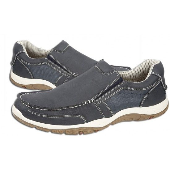 Mens Leisure Shoes Elastic Gusset Casual Slip-on in Navy Blue Grain PU