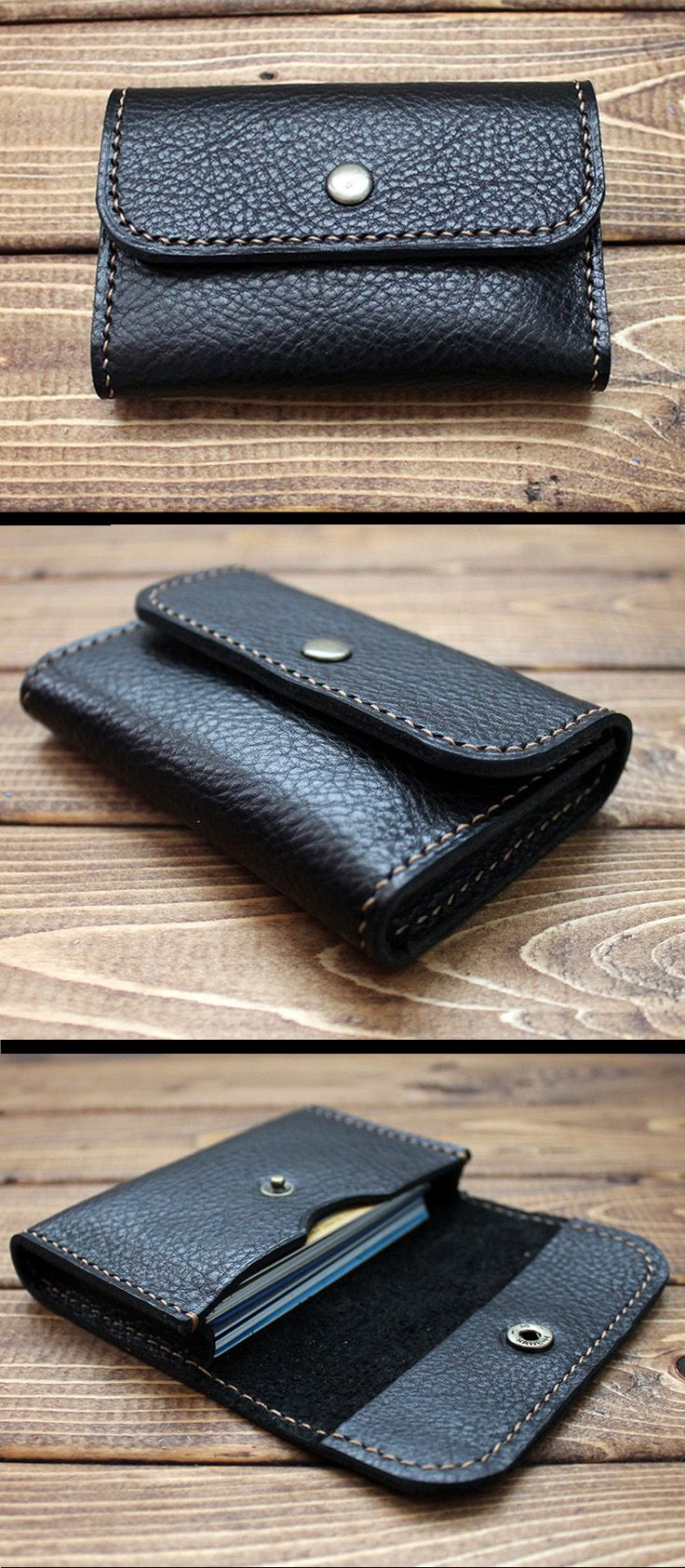 HAND STITCHED BUSINESS CARD CASE/ Wallet in ITALIAN VEGETABLE TANNED Leather- A Perfect Gift for Wedding, Business, Graduation, Birthday, Anniversary, men and women. It is made with Eco-friendly materials. - It is top quality Italian vegetable tanned leather that is Chromium-free and made with vegetable sources.  - Slightly oiled, soft and natural grain texture.
